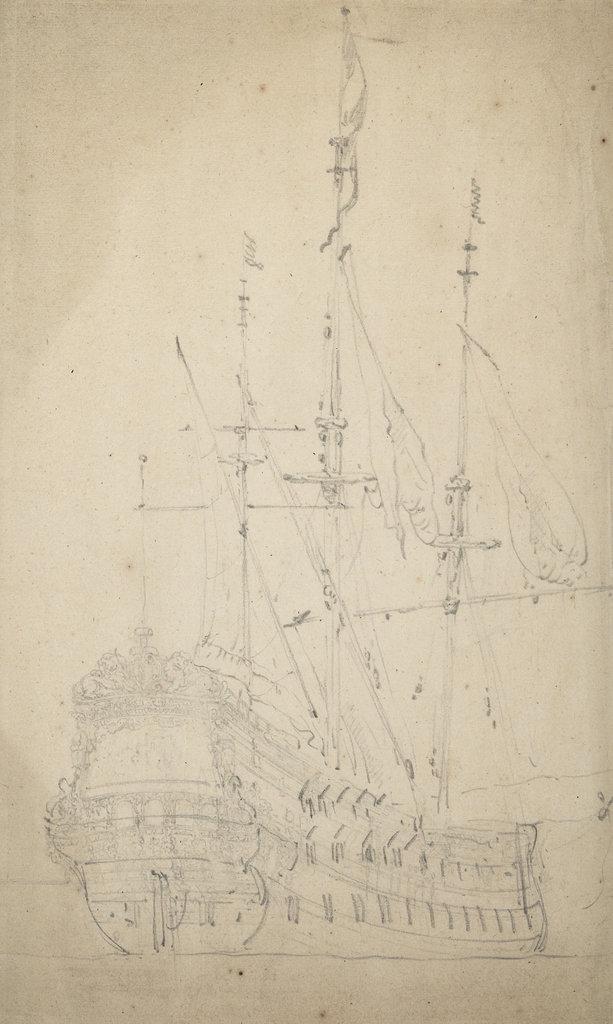Detail of Portrait of the 'Burcht van Leiden' by Willem Van de Velde the Younger