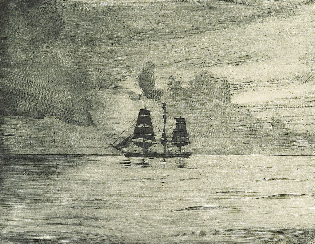 Detail of Port side of a sailing vessel in a calm sea by John Everett