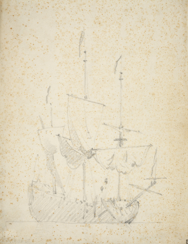 Detail of An English ship drying sails by Willem Van de Velde the Younger
