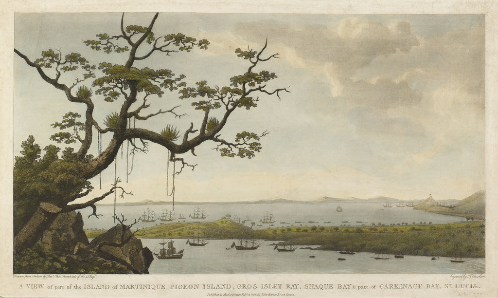 Detail of A view of part of the island of Martinique, Pigeon Island, Gros Islet Bay, Shaque Bay & part of Careenage Bay, St Lucia by Charles Forrest Forrest