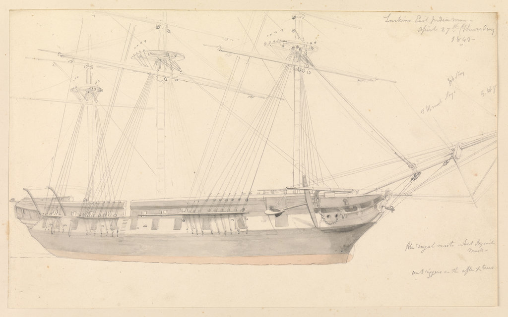Detail of Annotated drawing of 'Larkin's East Indiaman, April 27th (Thursday) 1843' by John Christian Schetky