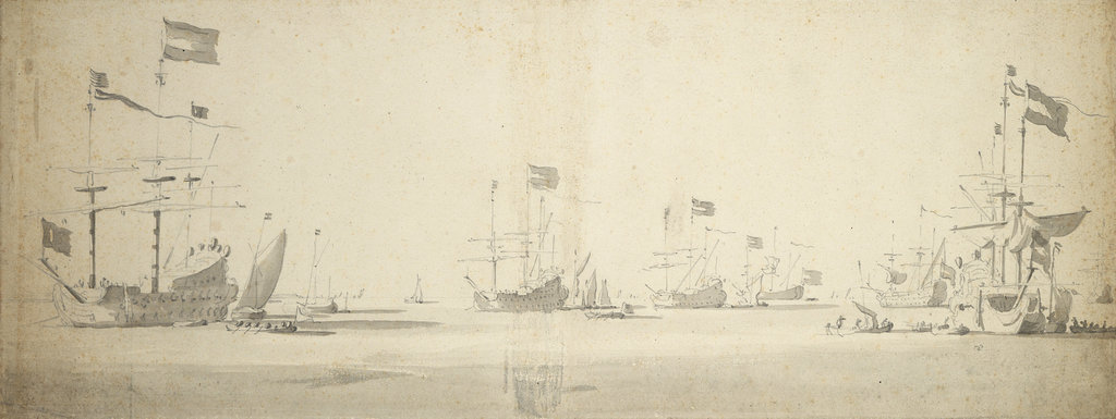 Detail of Dutch flagships at anchor with boats alongside by Willem van de Velde the Elder